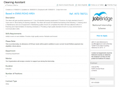 Ardscoil Rís advertised for a cleaner along with four other posts.