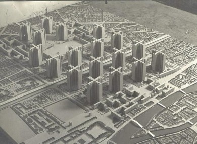 A model of the planned district.