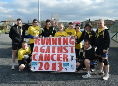 Ken Campbell standing far right with some of the Running Against Cancer group.