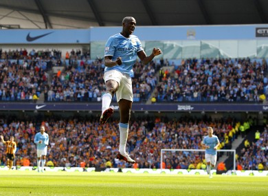 Manchester City's Yaya Toure celebrates a goal.