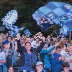 The fans wave their Dublin flags<span class=