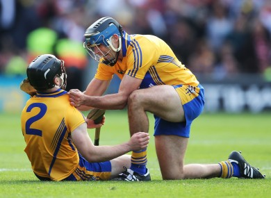 Clare's Brendan Bulger celebrates with Domhnall O'Donovan who scored the equalizing point.