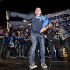 Eoghan O'Gara spins teammate Paddy Andrews around in celebration<span class=