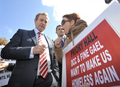 Taoiseach Enda Kenny confronted by Stephanie Meehan at a protest last year.