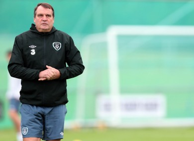 Republic of Ireland assistant manager Marco Tardelli at training today.