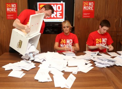 Junior doctors count the ballots from IMO members this week. NCHDs voted for strike action beginning on 25 September over chaotic working hours.