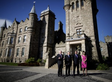 NI First Minister and Deputy Minster with David Cameron and Secretary of State Theresa Villiers at Stormont Castle. (File photo)