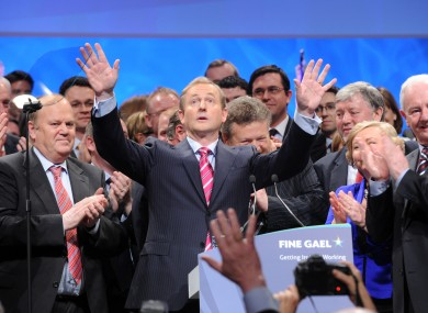 Enda Kenny tries to calm crowds at the party's Ard Fheis in Dublin last year.