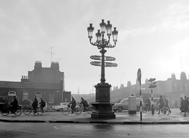 The Five Lamps on the North Strand Road in Dublin during the 1970s.