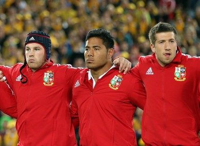 Manu in the middle: Tuilagi separates Sean O'Brien and Justin Tipuric (right) in the Lions line-up.