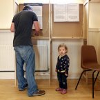 Two-year-old Lucy watches her dad Bryan Quinn cast at Burrow School in Sutton, Co. Dublin.<span class=