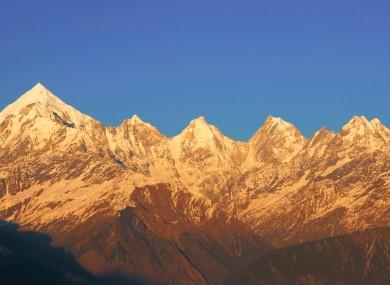 Five mountain peaks.