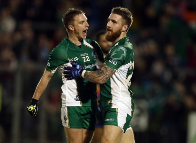 Zach Touhy of Ireland celebrates scoring his side's first goal with Ross Munnelly.