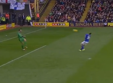 The ball rebounds off Chris Wood's face and loops towards the Watford goal.