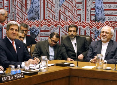 Mohammad Javad Zarif and John Kerry at the UN in September