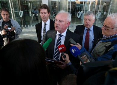Wicklow County Council manager Eddie Sheehy (centre) speaks to the media outside The Criminal Courts of Justice.