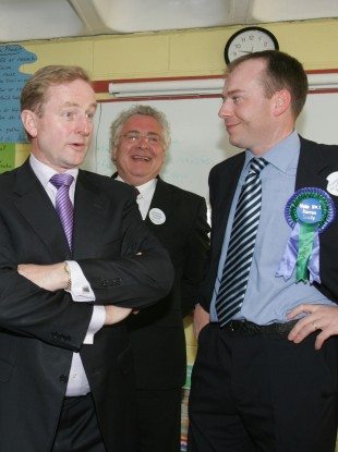 Enda Kenny with deputy Bernard Durkan and councillor Darren Scully.
