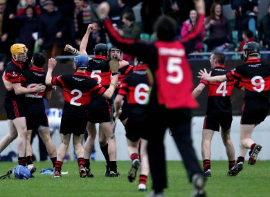 Mount Leinster Rangers players celebrate their semi-final win.
