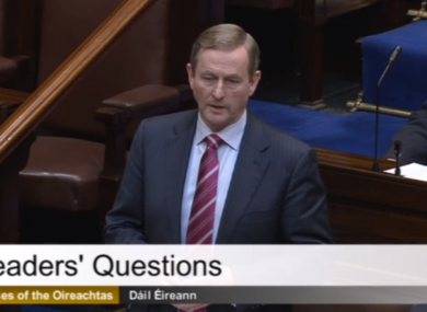 Enda Kenny answering questions in the Dáil this morning