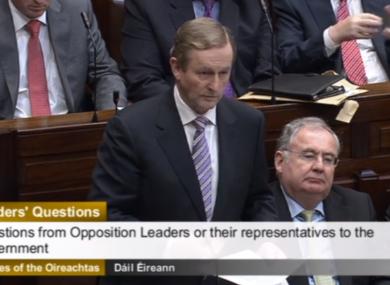 Taoiseach Enda Kenny in the Dáil this morning.