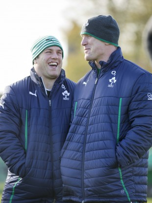 dc9877ab0c3 Sean O Brien and Paul O Connell share a joke during an Irish training