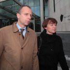John Bowe leaving Dublin District Court alongside his wife.<span class=
