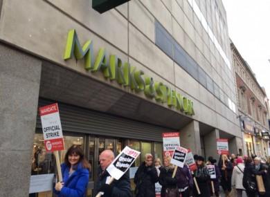 Workers picket M&S on Dublin's Henry Street last Saturday