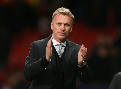 Manchester United manager David Moyes applauds the fans after the final whistle