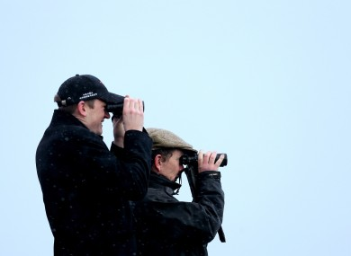 Stewards watch the racing at Leopardstown today.
