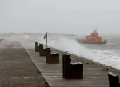 The East Pier at Howth during the bad weather