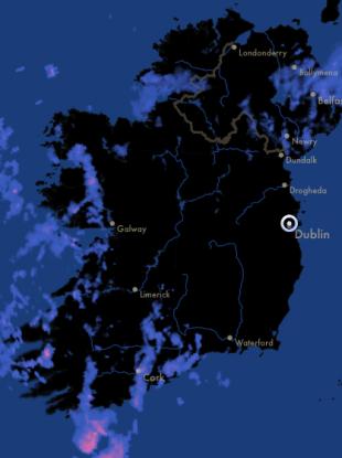 Rainfall over Ireland this morning.