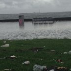 Flooding along the the Clontarf Promenade in north-east Dublin.<span class=