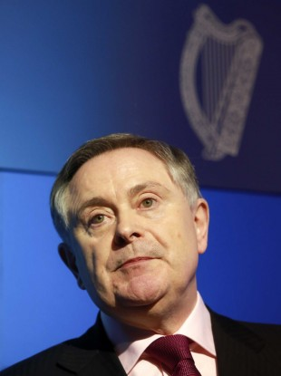 Brendan Howlin at Government Buildings earlier today.