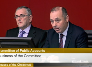 PAC chair John McGuinness and the committee clerk Ted McEnery this morning/