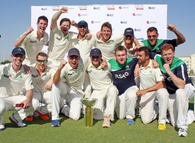 The Ireland team celebrate with the ICC Intercontinental Cup last month.
