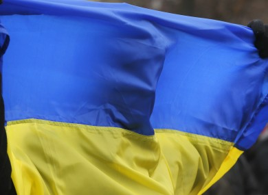 File pic: A demonstrator holds a flag during protest in Kiev
