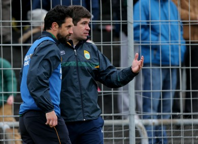 Eamon Fitzmaurice with Paul Galvin during a league game last year.