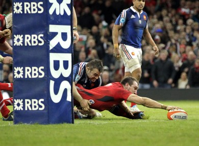 Wales' Sam Warburton goes over for the try that killed the game.