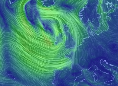Strong winds around Ireland this morning