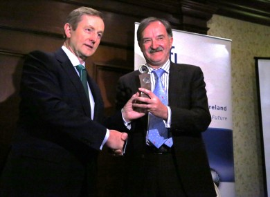 Enda Kenny presents Dr. Garret A. FitzGerald with the inaugural SFI St. Patrick's Day Science Medal in Washington DC today.