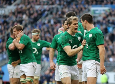 Andrew Trimble celebrates with Jonny Sexton after his first try.