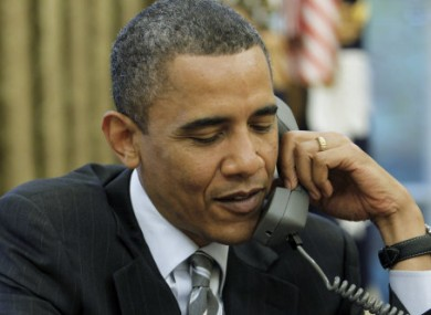 President Obama on the phone (file photo)