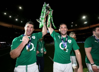 Rob and Dave Kearney celebrate in Paris.