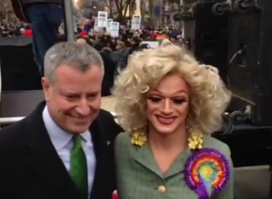 NYC Mayor Bill de Blasio with Panti at the St Pat's Day for All parade