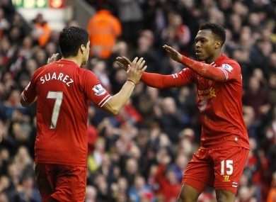Luis Suarez and Daniel Sturridge have scored the goals to catapult Liverpool into the title race.
