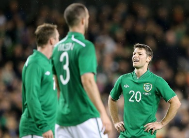 Ireland's Wes Hoolahan shows his frustration during last night's game with Serbia.