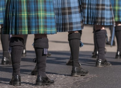 Bagpipers in kilts at the St Patrick's Day parade in London.