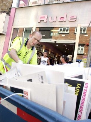 Illegal height election posters being pulled down in Dublin in 2009