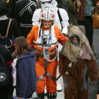 An Ewok and an X-wing starfighter pilot stroll through the RDS today.  <span class=