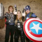 Aaron, Alanna and Eoin Donnelly from Kildare, as Thor, the Black Widow and Captain America.<span class=